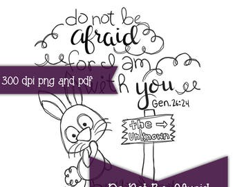 Do Not Be Afraid Bible Journaling print and trace printable color page digital digi Instant Download