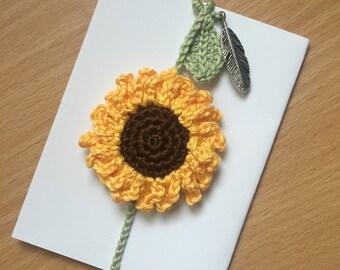 Sunflower crochet bookmark / brooch / hair clip