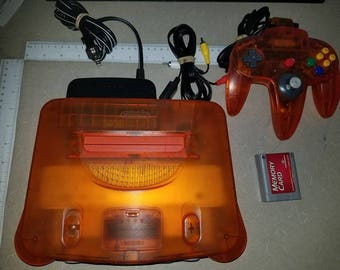 Fire Orange N64 Console With Original Controller Great Shape