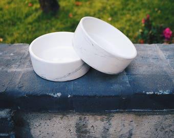 Set of White Marble Ceramic Dog Food and Water Bowls