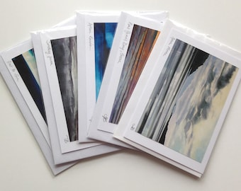 5 sky and landscape blank greetings cards of original paintings by Tracy Butler