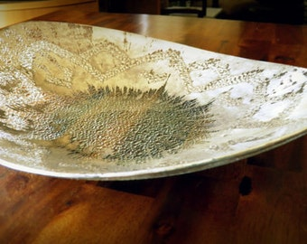 """1960's AUTHENTIC Dorothy C. Thorpe Brushed Sterling Silver Bowl--13"""" L x 10"""" W x 2-1/4"""" D--Textured Art Glass--STUNNING"""