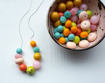 hi, you look nice today - necklace, vintage beads - orange, pink, coral, aqua, neon, yellow, black - colorful necklace