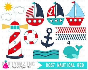 Nautical Clipart Set, Cute Nursery, Clip art Set with Digital Paper Pack, Shower Set -D057