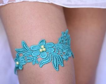 Wedding Garter, Light Teal Garter, Bridal Garter, Blue Lace Garter, Bridal Garter Set, Something Blue, Wedding Garter Blue, Turquoise Garter