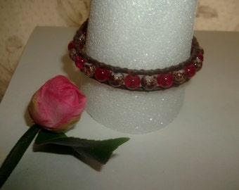Boho Chic Single Leather Wrap Bracelet with Red and Brown Glass Beads and Owl Button Closure Fall Neutral Tones Handmade Jewelry