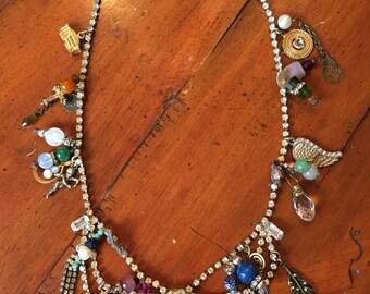 Charmed I'm Sure Necklace, Vintage Charms, Swarovski Crystal, Handmade by leeleedesigns westport, Vintage Rhinestone Necklace, Agate, Boho