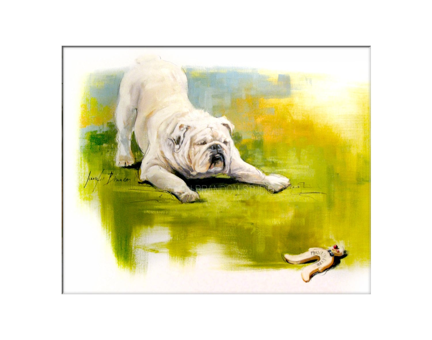 Dog Art - Matted Print of Original Custom Oil Painting - Dog Art ...