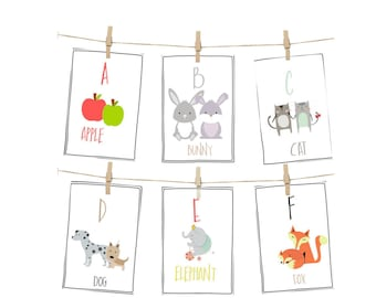 ALPHABET CARDS, PRINTABLE alphabet, Alphabet flash cards, abc cards,alphabet art prints, letter wall art, kids art, kids cards,kids room