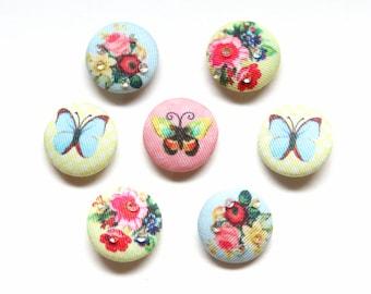 Supplies - Cloth Button Brads for Scrapbooking, Butterfly Brads, Scrapbooking Brads, Button Brads, Flower Brads, Scrapbook Embellishments