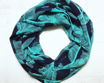 Turquoise & Navy Blue Palm Leaf Print Lightweight Chiffon Infinity Scarf - Handmade - For Her, Spring Fashion, Mother's Day, Summer