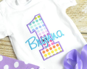 Rainbow First (1st) Birthday Outfit - First birthday outfit! rainbow cake smash outfit, baby girl birthday shirt, 1st birthday shirt