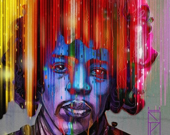 Jimi Hendrix Rainbow Bridge Tribute Painting