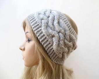 Grey Wool Cable Headband, Women Wool Headband, Hand Knit Headband, Braided Wool Alpaca Ear Warmer, Women Alpaca Headband, ClickClackKnits