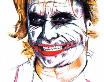The Joker - Nurse - The Dark Knight - Heath Ledgers Joker - Marker Sketch - Print