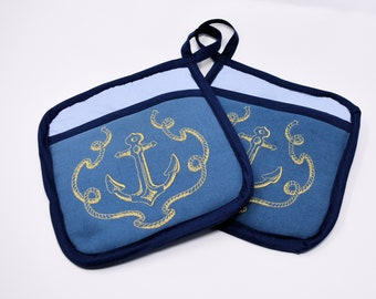 Potholders - Anchor's Aweigh