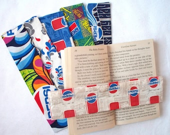 PEPSI Weighted Bookmarks,Pepsi-Cola Bookmark, Fabric Covered Weighted Bookmark,Catch the Pepsi Spirit,Have a Pepsi Day,Pepsi Cans Collector