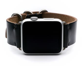 Apple Watch Band Horween Leather Watch Strap by E3 Supply Co.- Black Chromexcel