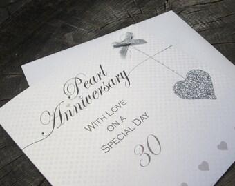 Pearl (30th) Anniversary Card - Glitter Heart Design LLA30