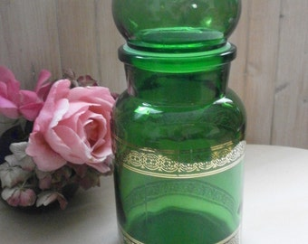 Vintage Apothecary Jar In GLass Emerald - Emerald green glass apothecary jar