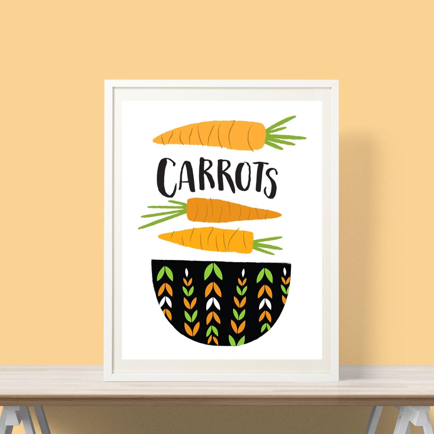 Carrots Art Print Physical Print Kitchen Gift Vegetable