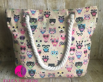 Owl Tote/Beach Bag W/Rope Handle - in Light Tan or Black