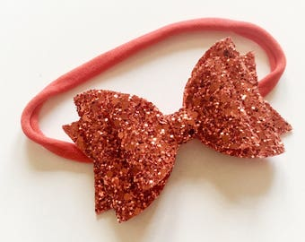 Double glitter red bow on nylon headband - baby toddler headbands, one size headband