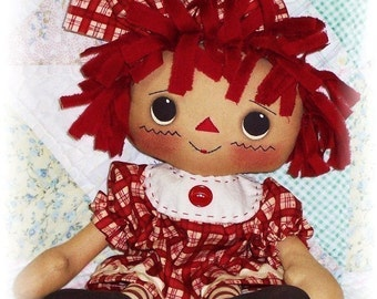 Cloth Doll PATTERN, PDF pattern, Primitive Rag Doll Pattern, Sewing Pattern, Raggedy Ann Annie Pattern, Instant Download, Digital Download