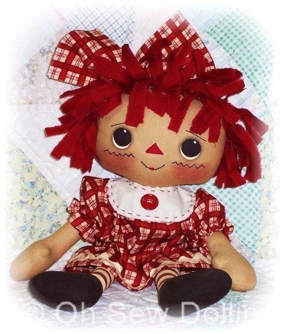 Cloth Doll PATTERN, PDF pattern, Primitive Rag Doll Pattern, Sewing ...