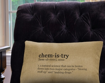 """Funny Chemistry Definition Pillow Cover - 12"""" x 18"""" - Zipper Enclosure - Machine Washable Great Gift for Science Geeks"""