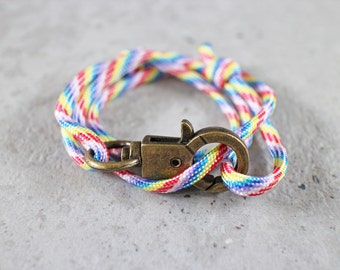 Cord Tiga - rainbow paracord cord wrap bracelet with clasp, unisex, adjustable size, limited edition