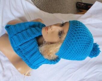 Sale - Bright Blue Slouchy Beanie and Cowl Set, Slouchy Beanie, Winter Set, Cowl Set, Slouch Beanie, Crochet Beanie, Winter Beanie