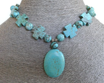 Stunning Turquoise Magnesite Statement Necklace