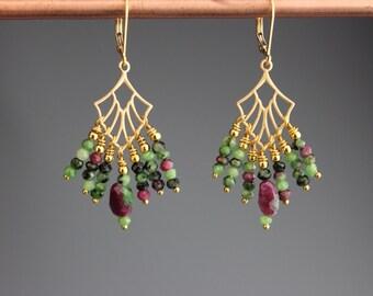 Ruby Zoisite Earrings - Ruby Zoisite Jewelry - Chandelier Earrings - Art Deco Jewelry - Gemstone Earrings - Gold Earrings -  -Hummingbirds