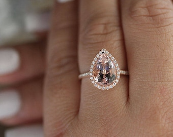 Engagement Ring 10k Rose Gold Morganite Pear 2.50+ Carat and Diamond Halo Ring, Bridal Ring, Peach Pink Morganite Pear LOW COST Ring
