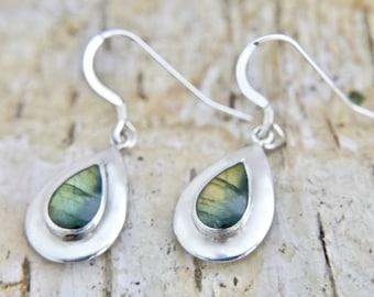 Handmade Silver Labradorite Drop Earrings