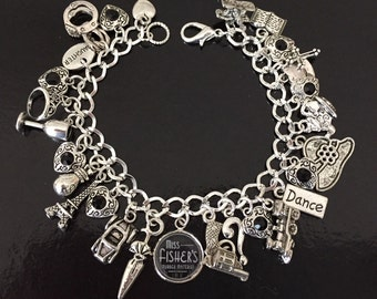 Miss Fisher Charm Bracelet, Phryne Fisher, Murder Mysteries, Black and Silver