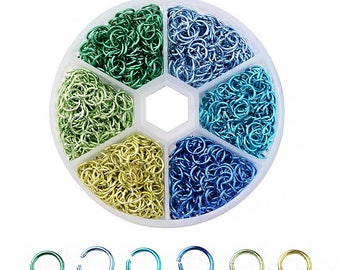 6mm Aluminum Jump Rings with Six Assorted Finishes in Handy Storage Box 1080 Pieces -JBox-15