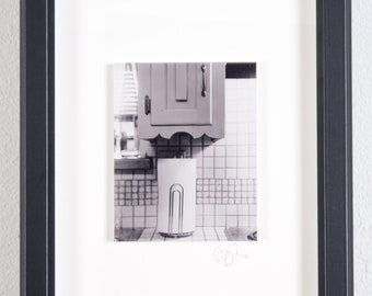 Towel Stand | Original Fine Art Photograph 8 in. x 10 in. Framed | Archival Print on Metallic Inkjet Paper Mounted