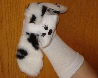 eyelashes on Dalmiation Sock Puppet Dog moveable mouth