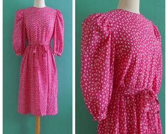 vintage 80's pink spring dress // floral print dress