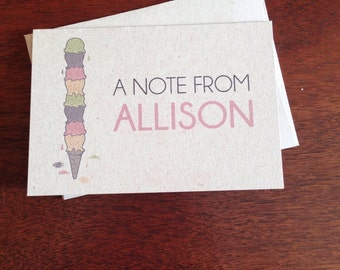 Ice-cream Personalized Note Cards (set of 10)