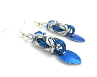 Blue and Silver Byzantine Chainmaille Earrings - Ready to Ship