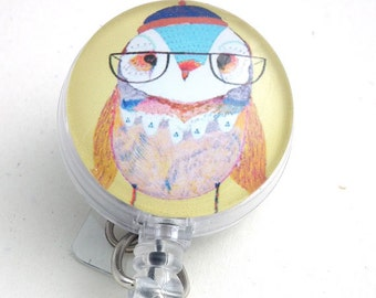 Retractable ID Badge, Lady Owl with Eyeglasses, Name Badge Reel, Teacher ID Holder 104