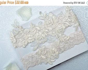 ON SALE Wedding Garter Set, Bridal Garter Set, Garter,  Ivory Lace Garter, Alencon Garter Belt, Style -G 50575