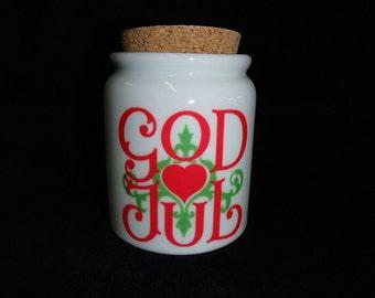 Scandinavian Jar with Cork Lid - Lingon, Godis Candy or God Jul Christmas