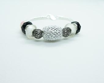 pandora charms, white, black, silver bracelet