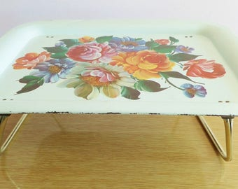 Vintage Tole Painted Metal Folding Lap Tray - Mid Century Flowers - Gypsy Boho Design