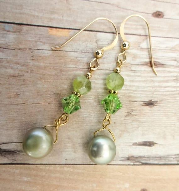 Peridot Ovals, Swarovski Crystal and Freshwater Pearl Earrings