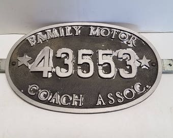 Vintage Family Motor Coach Association (FMCA), Motor Home  club, Membership traveling  plaque with metal bracket, Automotive memorabilia